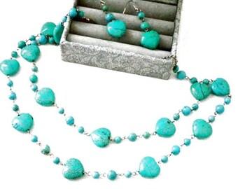 Multistrand Beaded Heart Turquoise Jeweley Set