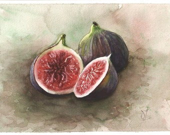 Original Still Life with Figs, Figs Watercolor Painting, Still life Watercolor, Still Life with Figs, Fruits Watercolor, Home Kitchen decor