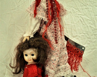 """Creepy, Gory, Horror, Porcelain Doll, Halloween Doll, Beheaded Doll, 14"""" tall with 7"""" Meat Cleaver, Ribbons of Blood, Beheaded Beatrice"""