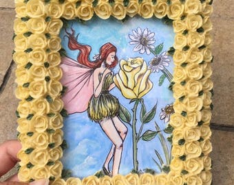 Yellow Fairy with Standing Frame (5x7) Mixed Media Art