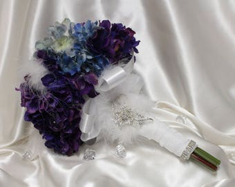 "FULL PRICE for opening!!! 10""Ready ti Ship High Quality Real Touch Hydrangea Brooch Bouquet"