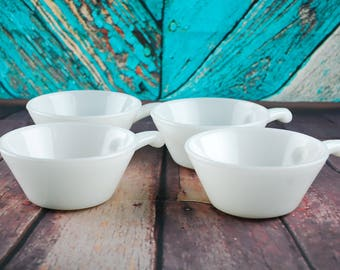 Anchor Hocking Fire King set of 4 bowls - Vintage 1960's white glass soup bowl