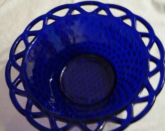 Vintage Fenton Diamond Pattern Cobalt Blue bowl 10 inches