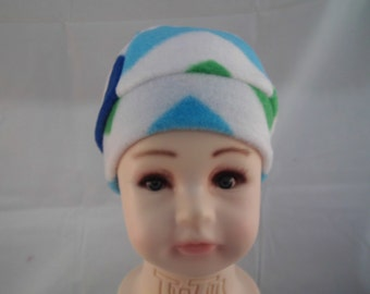 Toddler fleece cap blue white and green
