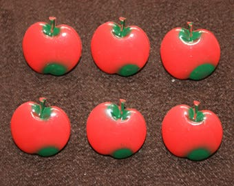 6 Vintage Red Apple Shaped Shank Plastic Buttons 20mm