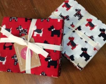 Red, White, Blue Scottie Dog design - Fat Quarter bundle of 6 beautiful 100% cotton fabrics