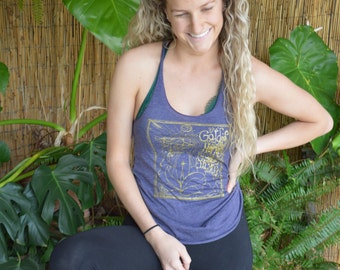 Golden Goddess Yoga Tank in Dark Amethyst by The Renegade Mama
