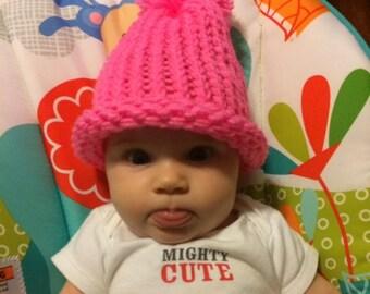 Infant Pink Crochet Pom Pom Beanie Winter Hat