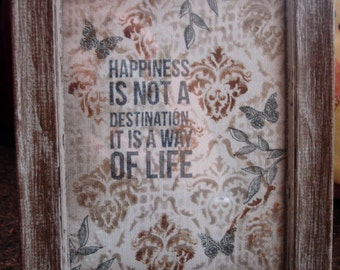 "Wall Art, Handmade framed canvas art ""Happiness"""