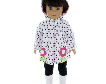 "Doll Clothes Beautiful Rain Coat Jacket Fits American Girl & 18"" Inch Dolls"