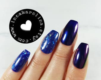 10/20 Press on nails Chrome chameleon mirror effect false nails gift artificial nails holographic nails fake nails holo nails nail art USA