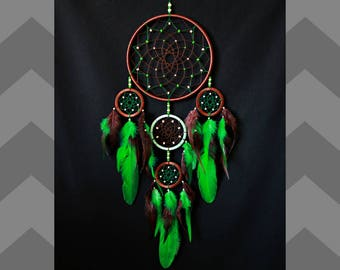 Dreamcatcher READY TO SHIP , Dream catcher brown & green color , large dreamcatcher, indian talisman