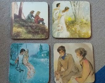 Set of 4 1970s decoupaged coasters, cork backed,  retro, kitsch