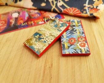 Japanese summer blooms - choyigami, rectangular, light earrings