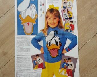 Elección Mickey Mouse Donald Duck Sweater Jumper infantil tejer patrón, patrón de suéter de Donald Duck, Mickey Mouse suéter patrón