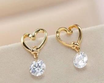 Earrings -Love Heart Cubic Zirconia Stone Dangle and Drop Earrings