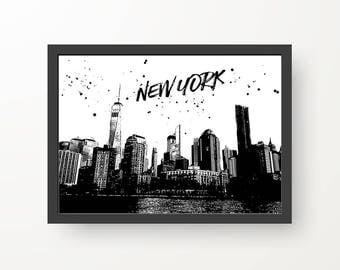 New York Black & White Digital Print Poster - A4, A3