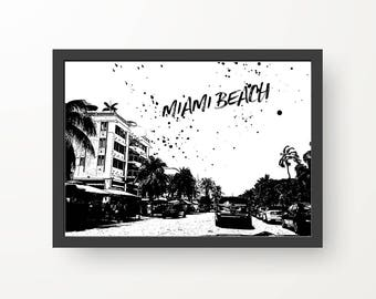 Miami Black & White Digital Print Poster - A4, A3