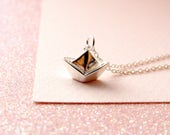 Sterling Silver Japanese Origami Hand Folded Boat Sailing Charm Necklace