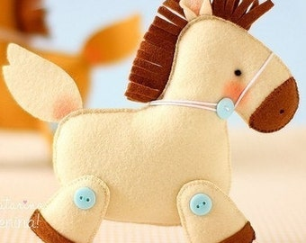 Felt pony decoration for kids room horse ornament for Christmas Housewarming home decor Baby shower ideas for her for him Gifts ideas