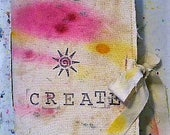 Art journal, hand-dyed papers and fabric, rustic, shabby chic, journaling, book