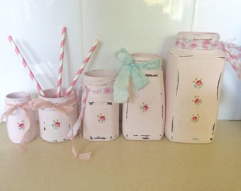 5 Shabby Chic Blush Pink Ditsy Flower Jars / Vases / Upcycled / Handcrafted Cath Kidston Style