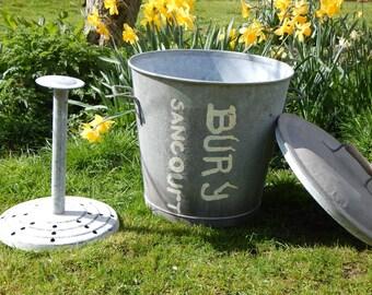 Vintage French Metal Bin  Garden Planter