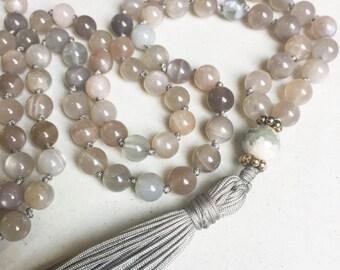 Moonstone Mala Necklace | Mala Beads | 108 Mala Beads | Mala Jewelry | Prayer Beads | Meditation Beads | Boho Jewelry |