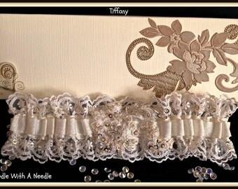 Wedding Garter/Bridal Garter/Ivory-Cream Lace Garter/Sequin Garter/Wedding Gift/Luxury Garter: Tiffany