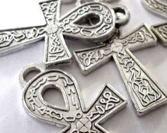 Egyptian Ankh Cross with Hieroglyphics Silver Tone Metal Pendants - H256