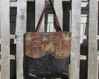 Large Tote Bag Upholstery Cowboys Outlaws Pony Express