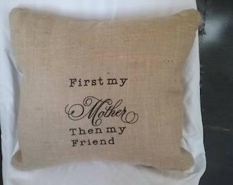 Mother burlap decorative pillow. Mothers day pillow. decorative pillow,throw pillow