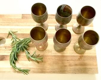 Vintage brass small goblets/patina brass set/vintage wine goblets/vintage brass cups/Indonesian brass/bohemian decor/barware/wedding decor