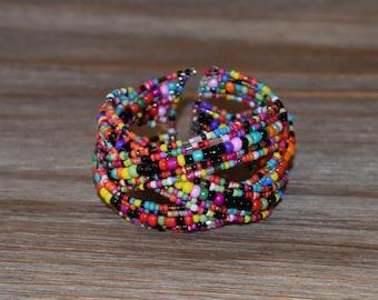 Multi Colored Beaded Bracelet | Handmade Beaded Bracelet | Beautiful Beaded Cuff Bracelet