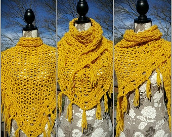Sunshine Yellow Crochet Fringe Shawl
