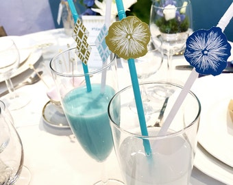 Lot of 50 accessories of straws, straw drink, flower, geometric, gold cocktail