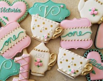 One (1) dozen Tea party cookies