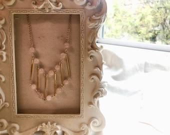 Rose Quartz Bridge Necklace