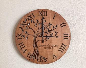 Wedding Gift / Anniversary Gift / Wood Wedding Maple Clock / Anniversary Clock / Custom Engraved Clock / Five Year Anniversary Gift 5 year