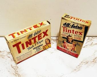 Two Boxes of Vintage Tintex Dye, Mid Century Advertising Boxes