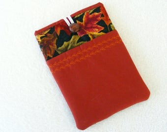 "CLEARANCE - Kindle Fire / IPad Mini / Nook Sleeve / Cover / Case, Fall Leaves Theme Print, 8""X 5"""