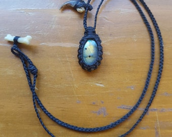 Labradorite Raccoon totem necklace
