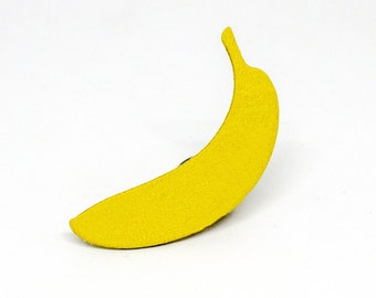 "PIN ""The banana yellow"" banana yellow leather handmade"