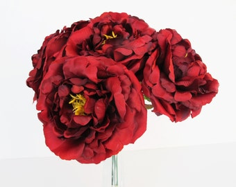 "10 Burgundy Red Roses Artificial Silk Flowers Rose measuring 4.5"" Floral Hair Accessories Flower Supplies Faux Fake DIY Wedding"