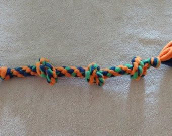 Fleece dog toy-knotted dog tug toy-in orange green and royal blue