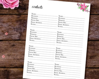 Contacts Tracker, Contact List, Address Book Printable, Printable Planner Insert, Address Book Filofax, Contact Sheets, A5 A4 Letter Size