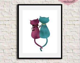 Cat Wall Art cat nursery art | etsy
