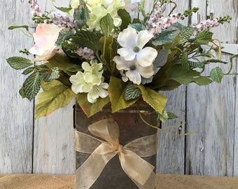 Light Poppies in a Farmhouse Galvanized Tin, Rustic Tin Floral Arrangement, Shabby Chic Floral Centerpiece, Summer Arrangement