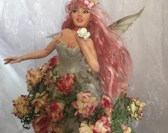 Ooak fantasy art fairy figurine The Flower Fairy fae, mermaid, sculpture, nautical, home decor, decorative figurine