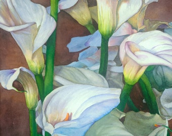 Calla Lilies, 15x22 watercolor painting giclee print, wall decor, floral bouquets, greens, white, cherry brown, Phyllis Nathans art
